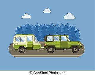 道, 旅行者, suv, そして, キャンパートレーラー, 概念