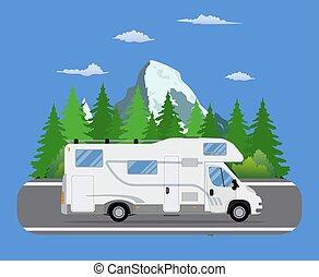 道, 旅行, トレーラー, 運転, 上に, 森林, 区域, road.
