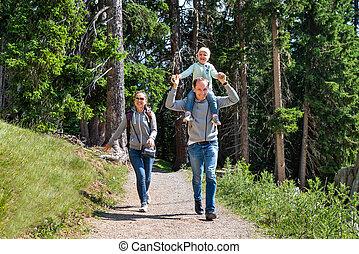 道, 歩くこと, 家族ハイキング