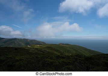 道, 海洋, 緑, 地平線, ローリング・ヒルズ, 青, 土