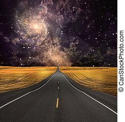 道, 消失する, 中に, 背景