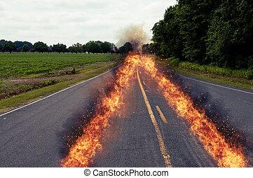 道, 燃え上がる