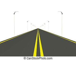道, 白, 隔離された, 背景