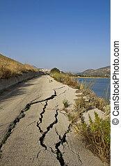 道, 破壊された, 地すべり