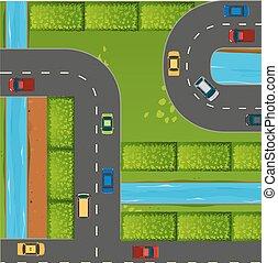 道, 自動車, 平面図