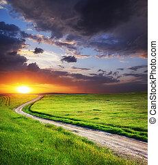 道, 車線, そして, 海原, 青い空