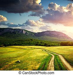 道, 車線, そして, mountain.