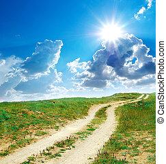 道, 車線, へ, 太陽