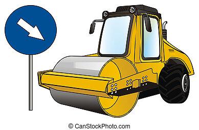 道, 黄色, ローラー