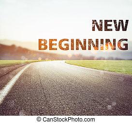 道, disappears, から, ∥, 光景, ∥において∥, sunset., テキスト, 新しい始まり