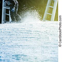 道, snowboarding, 速い, 火炎信号, 雪, 日当たりが良い