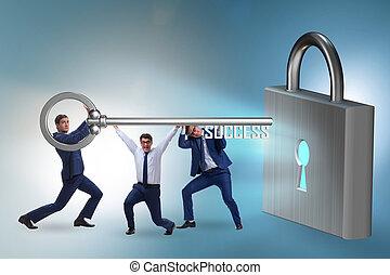 達到, 透過, 成功, 商人, 配合