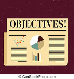 達成された, 写真, パイ, デザイン, ターゲット, レイアウト, ビジネス, 執筆, 線, テキスト, 概念, 会社, ありなさい, objectives., カラフルである, 提示, 手, 切望された, ゴール, バー, 代表団, chart., 計画された, 計画
