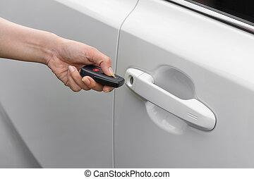 遙遠, 開鎖, 汽車, 手, 鑰匙, 使用