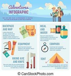 遠足, 人們, infographics, 圖象, 圖表, 設備, 矢量, 冒險, 在戶外, 攀登, 旅行