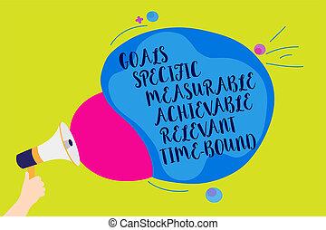 適切である, bubble., 写真, measurable, 印, achievable, 拡声器, 作戦, bound., スピーチ, 保有物, テキスト, 概念, メガホン, カラフルである, 提示, 代表団, ゴール, 叫ぶこと, 人, 特定, 時間, 話