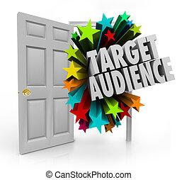 適所, ドア, ターゲット, クライアント, prosp, 聴衆, 言葉, 見つけること, 開いた, 最も良く