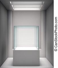 適所, 展示物, ショーケース, ギャラリー, 3d, ガラス