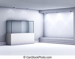 適所, 展示物, ショーケース, スポットライト, ギャラリー, 3d, ガラス