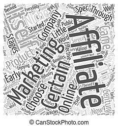 適所, 概念, 単語, マーケティング, いかに, affiliate, 選びなさい, 雲