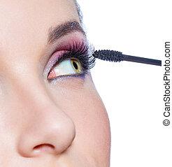 適用, の上, ブラシ, 女性, 終わり, 目, 光景, mascara