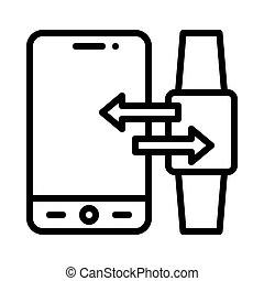 適用, アイコン, イラスト, smartwatch, ベクトル, モビール, sync