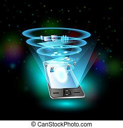 適用, ネットワーク, 電話, プロセス, 統合, 人々, によって, モビール, 雲