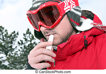 適用, バルム, 唇, スキーヤー