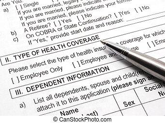 適用, ペン, 健康保険