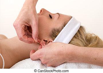 適用, ホメオパシー医, 針, ear., 刺鍼術