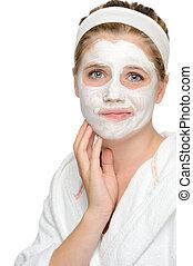 適用, 女の子, マスク, 清掃, 顔, 不安である, ティーネージャー