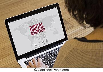 適用, 女, コンピュータ, デジタル, マーケティング