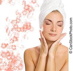適用, 彼女, 後で, 若い, 顔, シャワー, moisturizer, 美しい, 女性