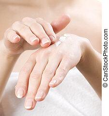 適用, 彼女, bath., 後で, skincare, 女性手, co, moisturizer