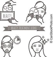 適用, 美しさマスク, アイコン, 待遇, 美顔術
