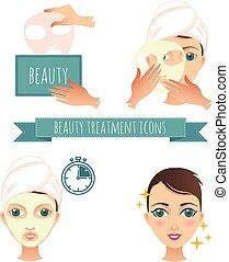 適用, 美しさ, イラスト, マスク, 待遇, 美顔術