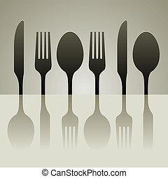 遮蔽, 刀叉餐具
