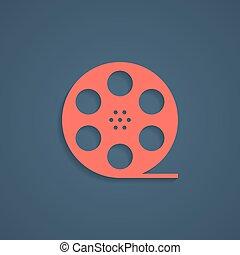 遮蔽, 卷筒, 电影, 红, 图标
