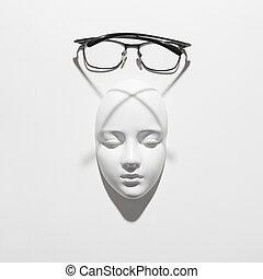 遮蔽, 石膏, 顶端, 长期面临, 巨大, 背景, space., 横越, 白色, 复制, 雕刻, 观点。, 玻璃杯