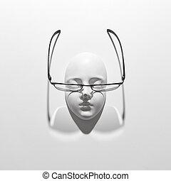 遮蔽, 石膏, 顶端, 长期面临, 巨大, 背景, space., 白色, 复制, 雕刻, 观点。, 玻璃杯