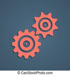 遮蔽, 齿轮, 红, 图标