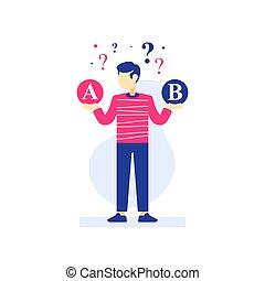 選びなさい, 作成, その割には, ∥間に∥, オプション, 2, 選択肢, 人, 考え, 決定, 困難, 選択