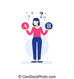 選びなさい, 作成, その割には, ∥間に∥, オプション, 2, 選択肢, 考え, 決定, 困難, 女, 選択
