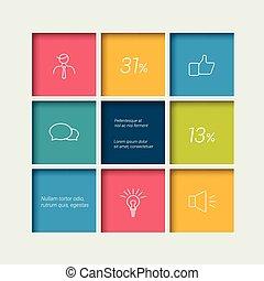 選中, 時間表, 箱子, 圖形, template., infographics, element., 簡單地,...