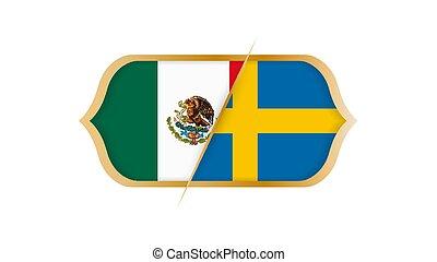 選手権, illustration., メキシコ\, ∥対∥, ベクトル, sweden., 世界, サッカー