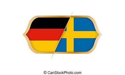 選手権, illustration., ∥対∥, ベクトル, ドイツ, sweden., 世界, サッカー