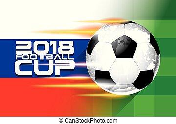 選手権, vector., カップ, フットボール, 2018, 背景, 世界, サッカー