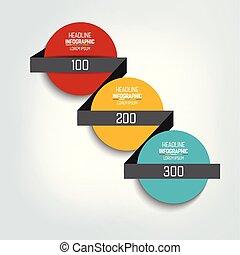 選択, タイムライン, infographic, 3, template., チャート, steps., 案, 番号を付けられる, ラウンド, 円