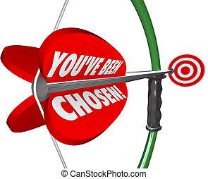 選択, ターゲット, 選ばれる, ある, 弓, you've, 矢, 狙いを定める