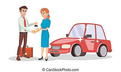 選択, ビジネス, ディーラー, 自動車, concept., 特徴, イラスト, 売り手, 機械, 販売員, vector., 新しい, 漫画, man.